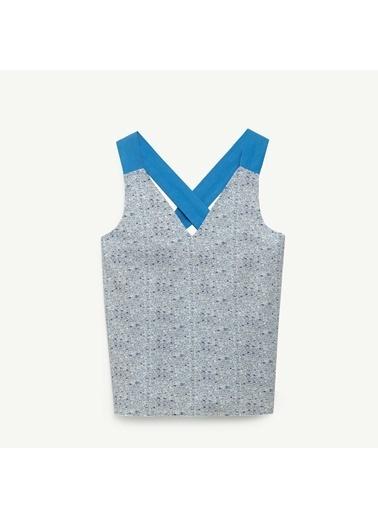 Yargıcı Kadın Kontrast Askılı Bluz 0YKGM6171X Mavi